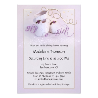 Elegant Lilac Shoes Girl Baby Shower Invitation