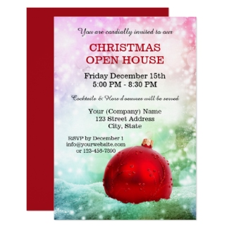 Magical Pastel Red Corporate Open House Christmas Invitation