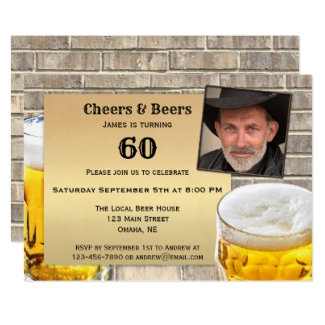 Mens Beer Birthday Party Invitation