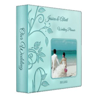 Mint Turquoise Floral Photo Wedding Binder