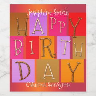 Modern Colorful Artistic Birthday Wine Label