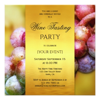 Gold and Grapes Artistic Wine Tasting Party Invitation