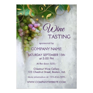 Modern Art Grapes Corporate Wine Tasting Invitation