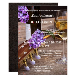Music Wine and Lilac Flowers Retirement Party Invitation