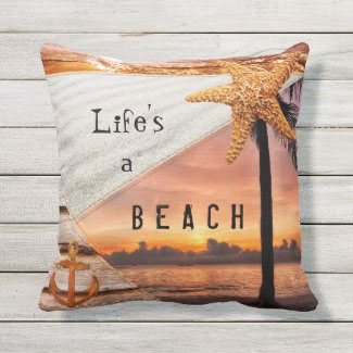 Nautical Beach Sunset Collage Pillow