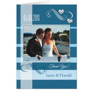 Nautical Blue Striped Wedding Photo Thank You Card