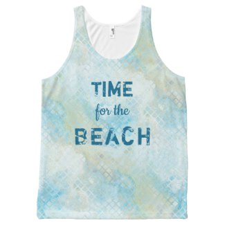 Pale Turquoise Beach Pattern Tank Top