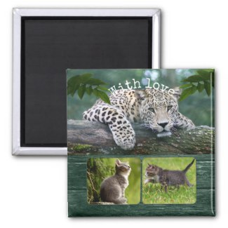 Leopard Big Cat Personalized Photo Magnet
