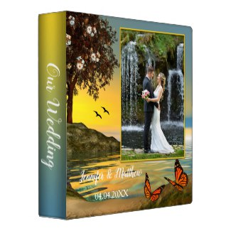 Personalized Butterfly Lake Wedding Photo Binder