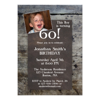 Personalized Photo Wood Birthday Party Invitation