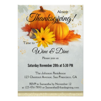 Pumpkin Gold Artistic Thanksgiving Dinner Party Invitation