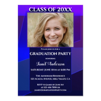 Purple Blue Neon Geometric Photo Graduation Invitation