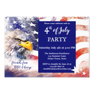 Red White and Blue Eagle Flag 4th of July Party Invitation