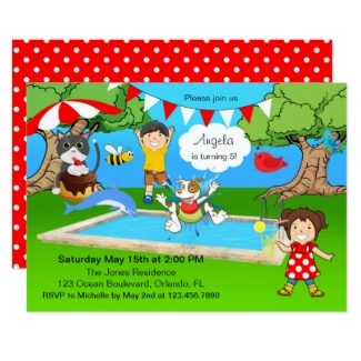 Retro Cartoon Kids Backyard Pool Splash Party Invitation