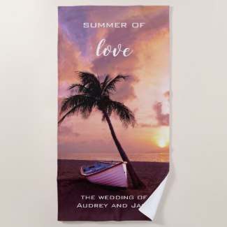 Romantic Tropical Sunset Beach Towel