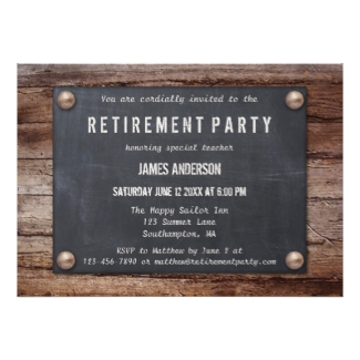 Rustic Blackboard on Wood Retirement Party Invitation