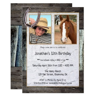 Rustic Horse Themed Photo Kids Birthday Invitation