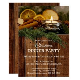 Rustic Traditional Christmas Dinner Party Invitation
