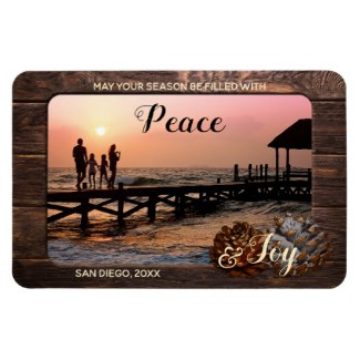 Rustic Wood Personalized Holiday Photo Magnet