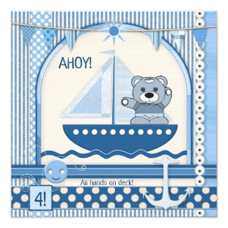 Scrapbook Sailboat Nautical Kids Birthday Invitation