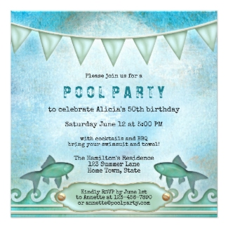 Sparkling Water Fishes Pool Party Invitation