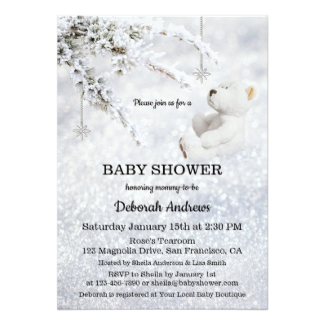 Sparkling Snow Winter Baby Shower Invitation
