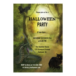Magical Forest Spooky Fantasy Halloween Invitation