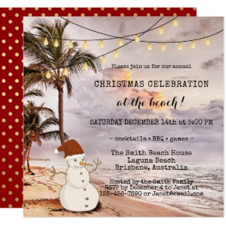 String Lights Beach Christmas Party Invitation