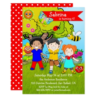 Summer Garden Childrens Birthday Invitation