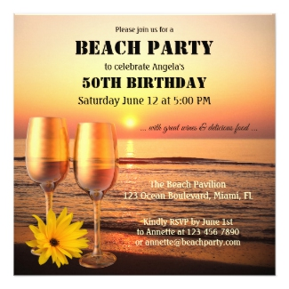 Sunset Summer Beach Birthday Wine Party Invitation