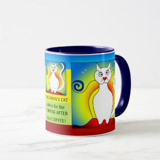 The Morning After Funny Mondrian Cat Mug