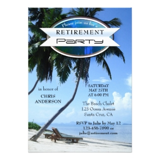 Tropical Beach Lounge Chairs Retirement Party Invitation