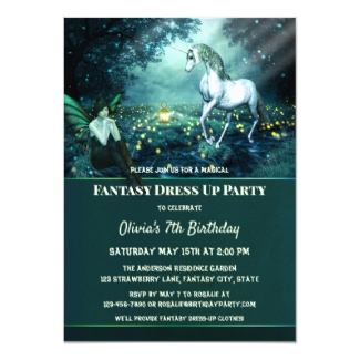 Unicorn Fantasy Dress Up Birthday Party Invitation