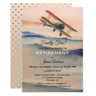 Vintage Airplane Travel Retirement Party Invitation