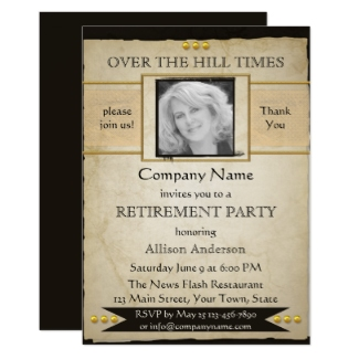 Vintage Newspaper Style Photo Retirement Party Invitation