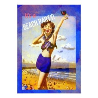 Vintage Watercolor Beach Party Invitation