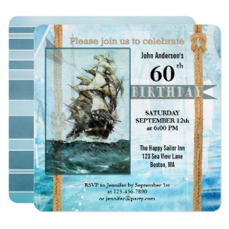 Whimsicial Retro Sailor Birthday Party Invitation
