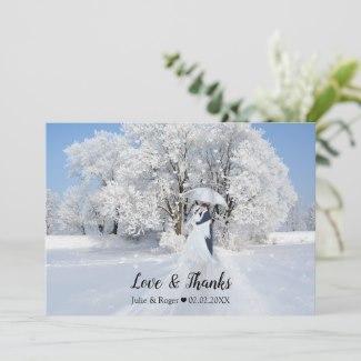 Winter Wonderland Art Custom Photo Wedding Thank You Card