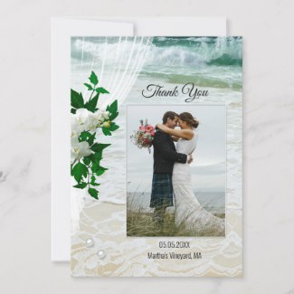 Custom Photo Beach Lace Orchid Wedding Thank You Card