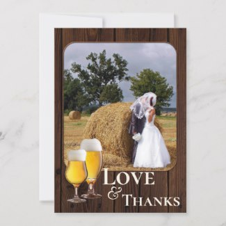 Your Photo Beer Themed Wedding Thank You Card