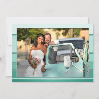Your Photo Green Striped Wedding Thank You Card
