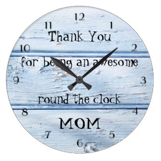 Dusty Blue Beach Style Wood Mothers Day Wall Clock