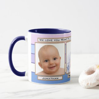Blue Striped Custom Photo Mother's Day Mug