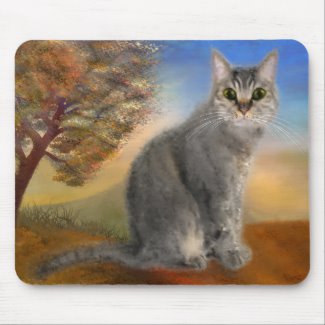 Colorful Cute Kitty Fine Art Mouse Pad