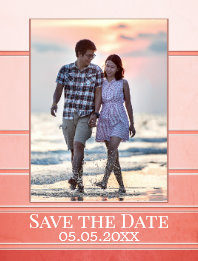 Coral Peach Tone on Tone Striped Photo Save the Date Postcard