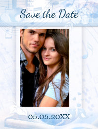 Dusty Blue Music Themed Photo Save the Date Card