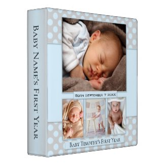 Dusty Blue Polka Dots Dream Baby Photo Binder