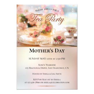 Elegant Mothers Day Tea or Brunch Party Invitation