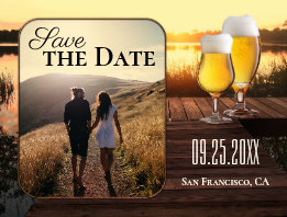 Golden Sunset Beer Save the Date Photo Postcard