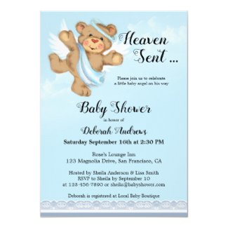Heaven Sent Angel Bear Boy Baby Shower Invitations